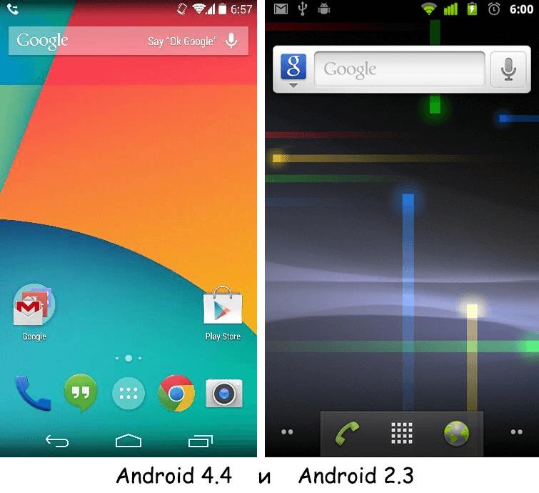сравнение двух версий Android