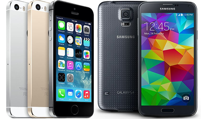 iPhone 5s и Samsung Galaxy S5