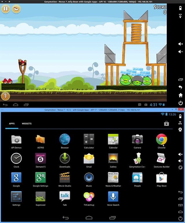 Скриншот из программы Genymotion