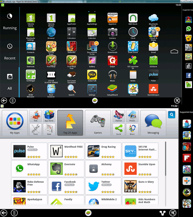 Скриншоты с программы BlueStacks