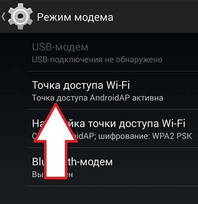 функция Точка доступа Wi-Fi