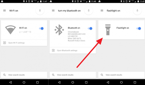 Включаем фонарик при помощи Google Now