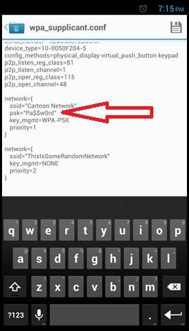 посмотрите пароль от WiFi