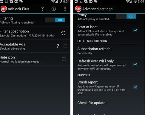 скриншот приложения Adblock Plus for Android