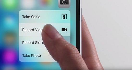 работа 3D Touch на смартфоне iPhone 6s