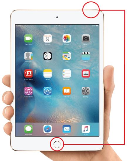 кнопки для создания скриншота на iPad