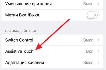 функция AssistiveTouch