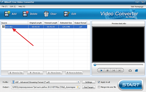 видео файл в программе iWisoft Free Video Converter