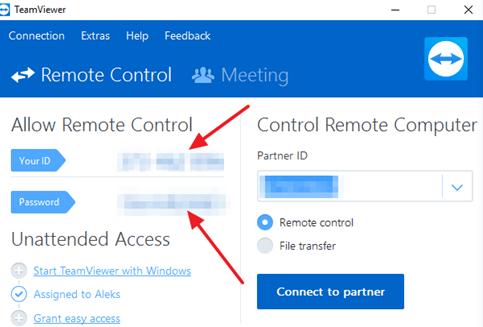ID и пароль в TeamViewer на компьютере