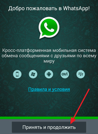 страница с приветствием в WhatsApp
