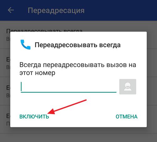 ввод номера телефона для переадресации
