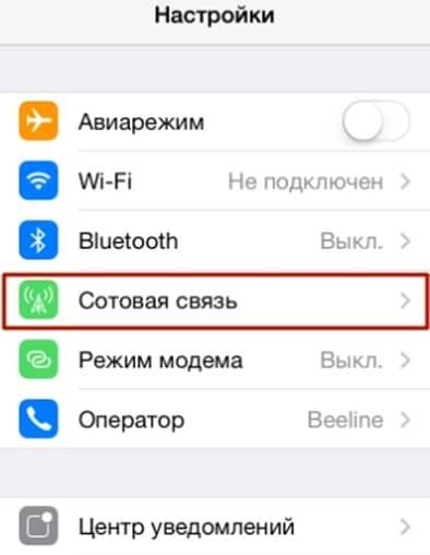 настройки Айфон - раздел Сотовая связь