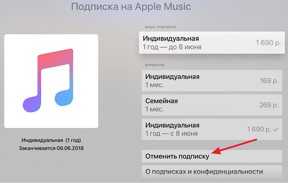 отмена подписки через Apple TV