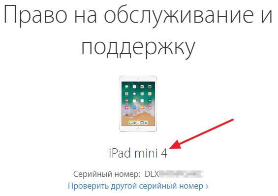 название модели iPad в результатах проверки