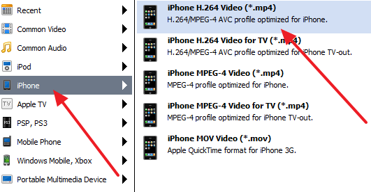 выбор формата MP4