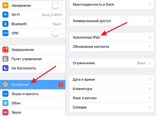 раздел Хранилище iPad