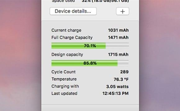 данные об износе батареи iPhone в программе CoconutBattery