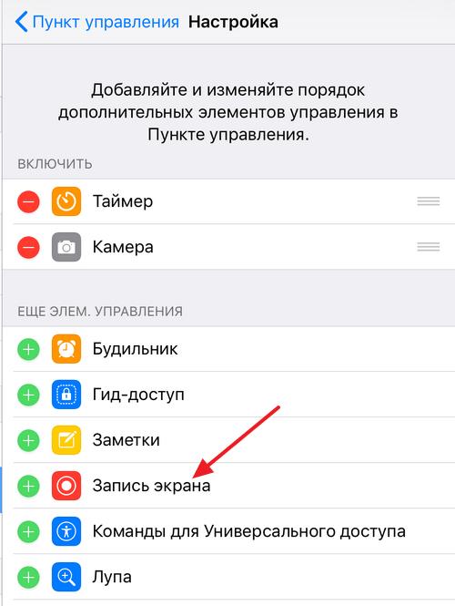 элемент Запись экрана