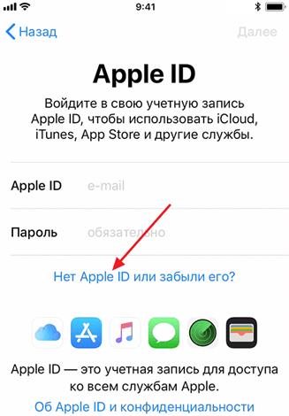 ссылка Нет Apple ID
