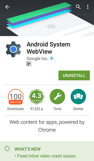 Android System WebView в магазине приложение Play Market