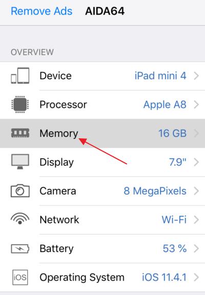 приложение AIDA64 раздел Memory