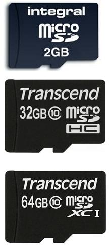 карты памяти MicroSD, Micro SDHC и Micro SDXC