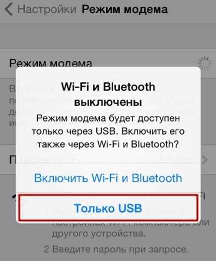 кнопка Только USB