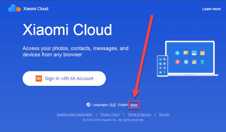 переход к списку языков Mi Cloud