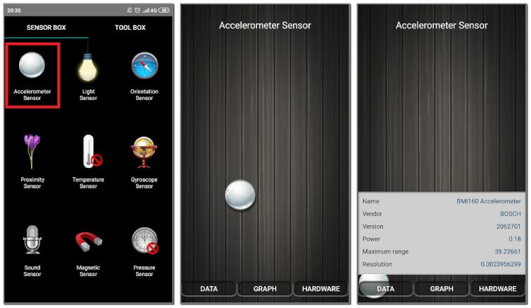 проверка гироскопа с помощью Sensor Box For Android