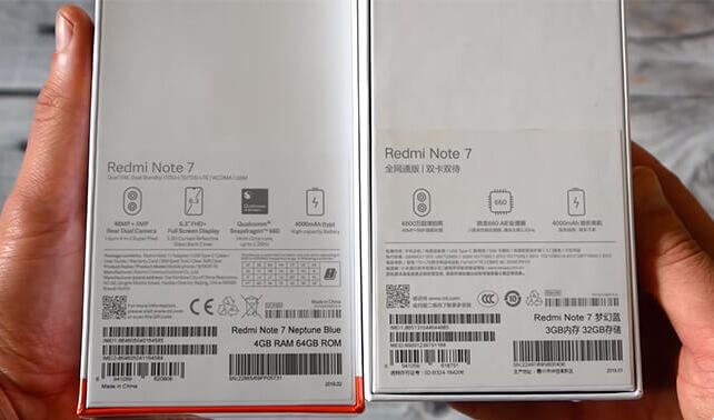 сравнение коробок глобальной и китайской версии Xiaomi