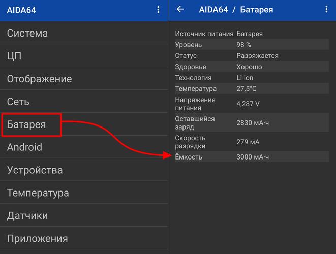 емкость аккумулятора в AIDA64